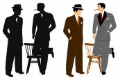 Men talking in silhouette — Stock Vector