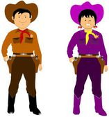 Cowboy and cowgirl — Stock Vector