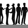 Large group of men in silhouette — Stock Photo #59702141