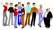 Large group of men arguing — Stockfoto