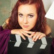 Old-fasioned actress in purple — Stock Photo #54223691