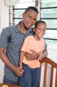 Happy father with his son take a picture together. — Stock Photo