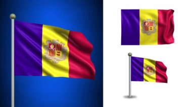 Andorra flag - with Alpha channel, seamless loop! — Stock Video