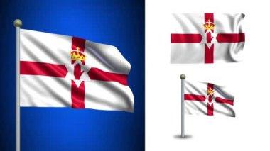 Kuzey İrlanda bayrağı - alfa kanalı, sorunsuz döngü ile! — Stok video