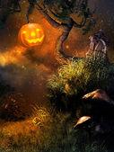 Pumpkin on the tree — Stock Photo