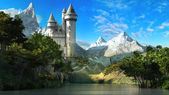 Castle on the slope of the mountains — Stock Photo
