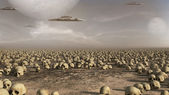 Spaceships over a field of skulls — Stock Photo