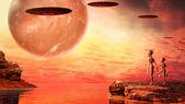 Sunset on alien planet — Stockfoto
