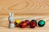 Rabbit and motley eggs  — Stock Photo