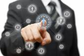Businessman pressing virtual button on  screen. network,communit — Stock Photo