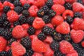 Red ripe berry and fresh blackberry — Stock Photo