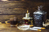 Cigarettes and alcohol candle — Foto de Stock