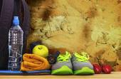 Inventory for sports at the wall — Stock Photo