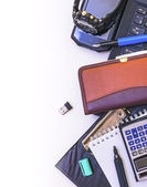 Objects used in the office as a frame — Stock Photo