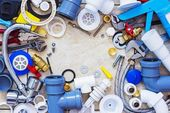 Frame of plumbing accessories — Stock Photo