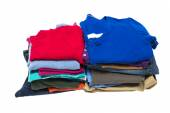 Neat Stacks Of Clothes Isolated On White — Stock Photo