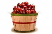 Big Bushel Basket Of Apples On White Background — Stock Photo