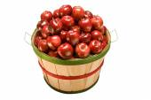 Apples Piled High In Bushel Basket Isolated On white — Stock Photo