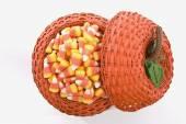 Pumpkin Basket Full Of Candy Corn — Stok fotoğraf
