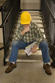 Laid Off Construction Worker Looking Distressed — Foto Stock