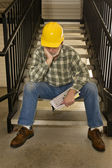 Poor Out Of Work Construction Worker — Stock Photo