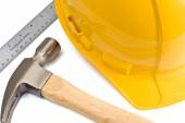 Construction Concept With Hard Hat, Hammer And Ruler — Stockfoto