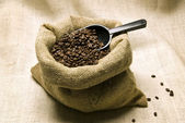 Coffee Beans In Burlap Bag With Scoop — ストック写真
