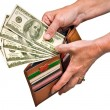 Hands Pulling Money Out Of Wallet — Stock Photo #56847153