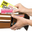 Thrifty Shopper Using Coupons From Her Wallet — Stock Photo #56847327
