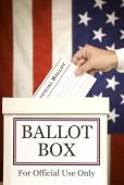 Ballot Box With Hand Voting (Vertical) — Stock Photo
