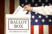 Ballot Box With Hand Voting — Stock Photo