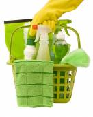 Carrying Green Cleaning Supplies — Stock Photo