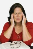 Woman With Stress Headache And Tiredness — Stock Photo