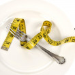 Diet Concept With A Plate Fork And Measuring Tape — Stock Photo #59448543