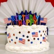 4th Of July Patriotic Birthday Cake — Stock Photo #59448703