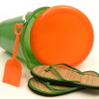 Beach Toys Frisbee And Sandals — Stock Photo #65525775