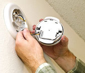 Smoke Detector Getting Battery Replaced — Stock Photo
