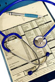 Clipboard With Patient Medical Chart And Stethoscope — Stock Photo