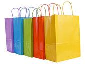 在 A 行和填充准备购物袋 — 图库照片