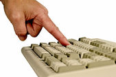 Finger Pressing Key On Computer Keyboard — Stock Photo