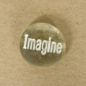 Stone Hand Painted With The Word Imagine — Stock Photo