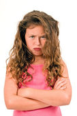 Little Girl Pouting With Tangled Hair — Stock Photo