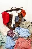 Clothes Hamper Overflowing With Dirty Laundry — Stock Photo