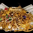 Gold Jewelry And Cash On Black Background — Stock Photo #71945015