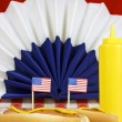 Patriotic Food With Little Flags (Focus On The Little Flags) — Stock Photo #73563969