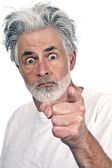 Old Man Threatening And Pointing Finger At Camera — Stock Photo