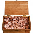 Old Wooden Box Full Of Copper Pennies — Stock Photo #75420879