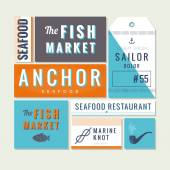 Flat sea food restaurant sign — Stock Vector