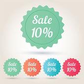Vector verkoop 10 procent badge sticker — Stockvector