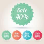 Vector sale 40 per cent badge sticker — Stockvector